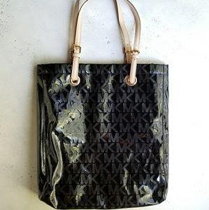 Michael Kors Black Patent Leather Tote Bag
